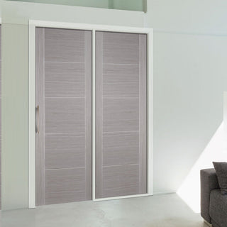 Image: ThruEasi Room Divider - Vancouver Light Grey Prefinished Door with Single Side - 2018mm High - Multiple Widths