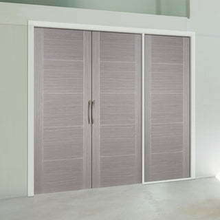 Image: ThruEasi Room Divider - Vancouver Light Grey Prefinished Double Doors with Single Side - 2018mm High - Multiple Widths
