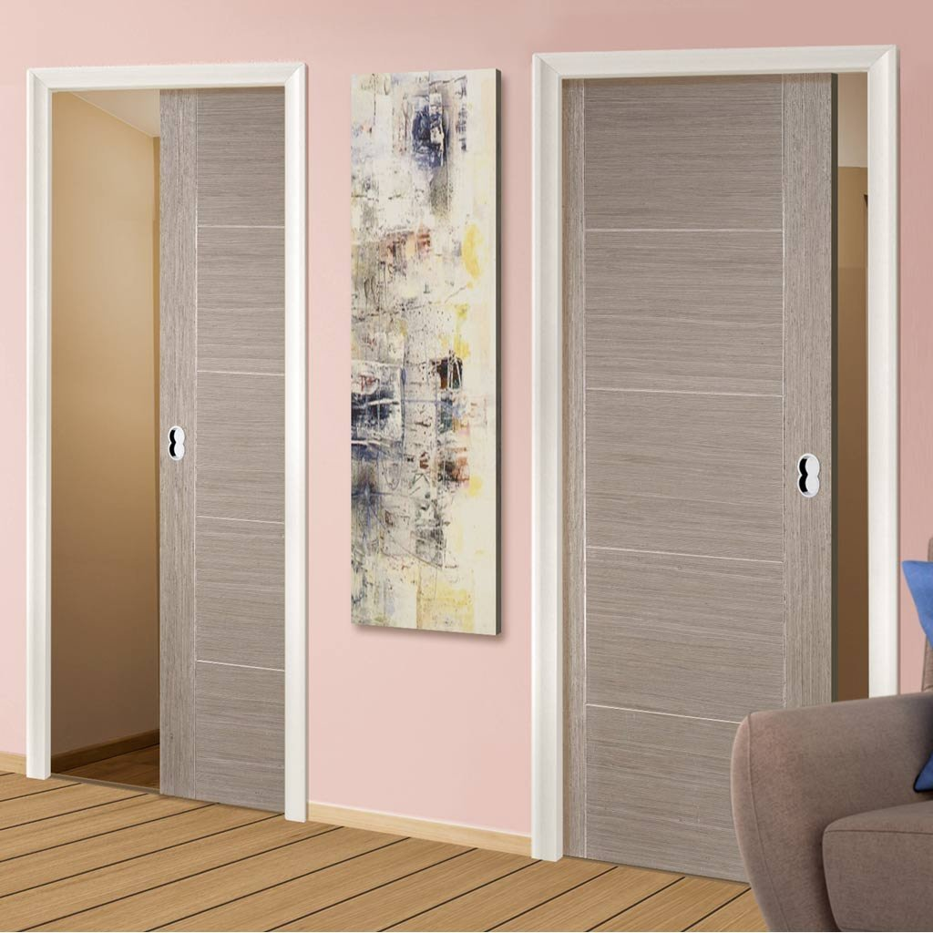 Light Grey Vancouver Unico Evo Pocket Doors Prefinished