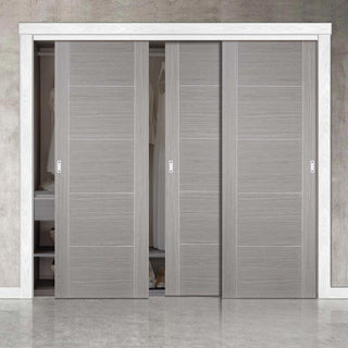 Image: Bespoke Light Grey Vancouver Door - 3 Door Wardrobe and Frame Kit - Prefinished
