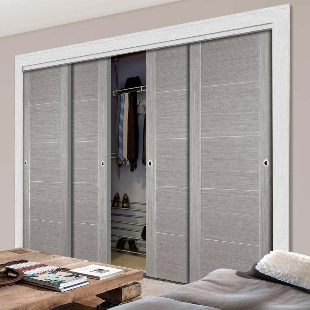 Minimalist Wardrobe Door & Frame Kit - Four Vancouver Flush Ash Grey Doors - Prefinished