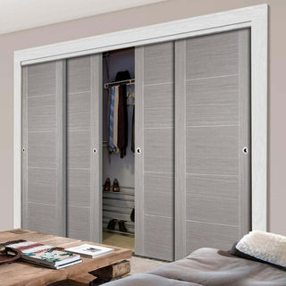 Image: Bespoke Light Grey Vancouver Door - 4 Door Wardrobe and Frame Kit - Prefinished