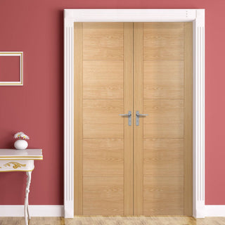 Image: Bespoke Vancouver Oak 5P Style Flush Door Pair - Prefinished