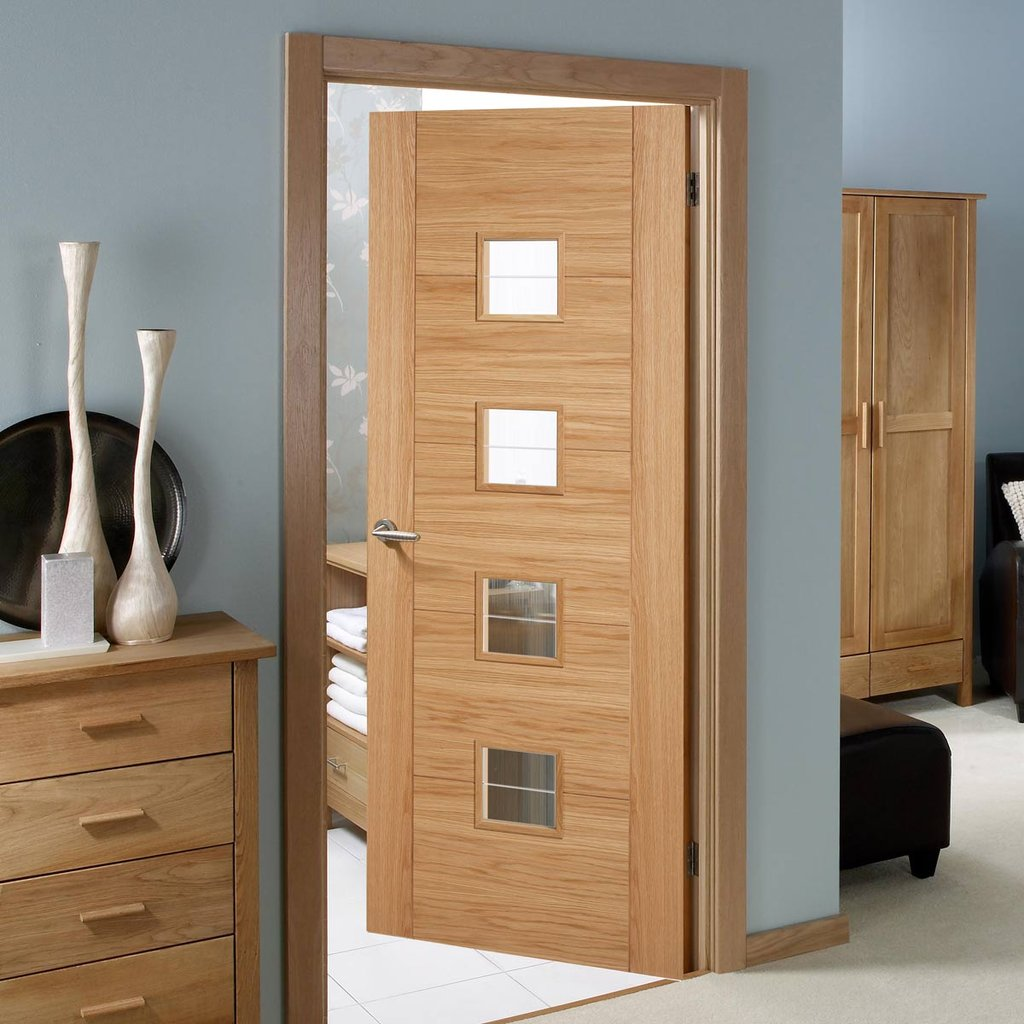 Bespoke Vancouver Oak 4LS Door Diamond Lined Clear Glass - Prefinished