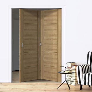 Image: Two Folding Doors & Frame Kit - Laminate Vancouver Oak Colour 2+0 - Prefinished