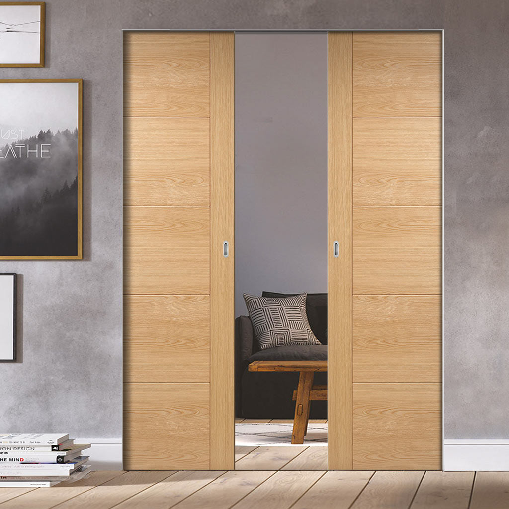 Bespoke Vancouver Oak 5P Style Flush Double Frameless Pocket Door - Prefinished