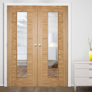 Image: Vancouver Long Light Oak Door Pair - Clear Glass - 1/2 Hour Fire Rated - Prefinished