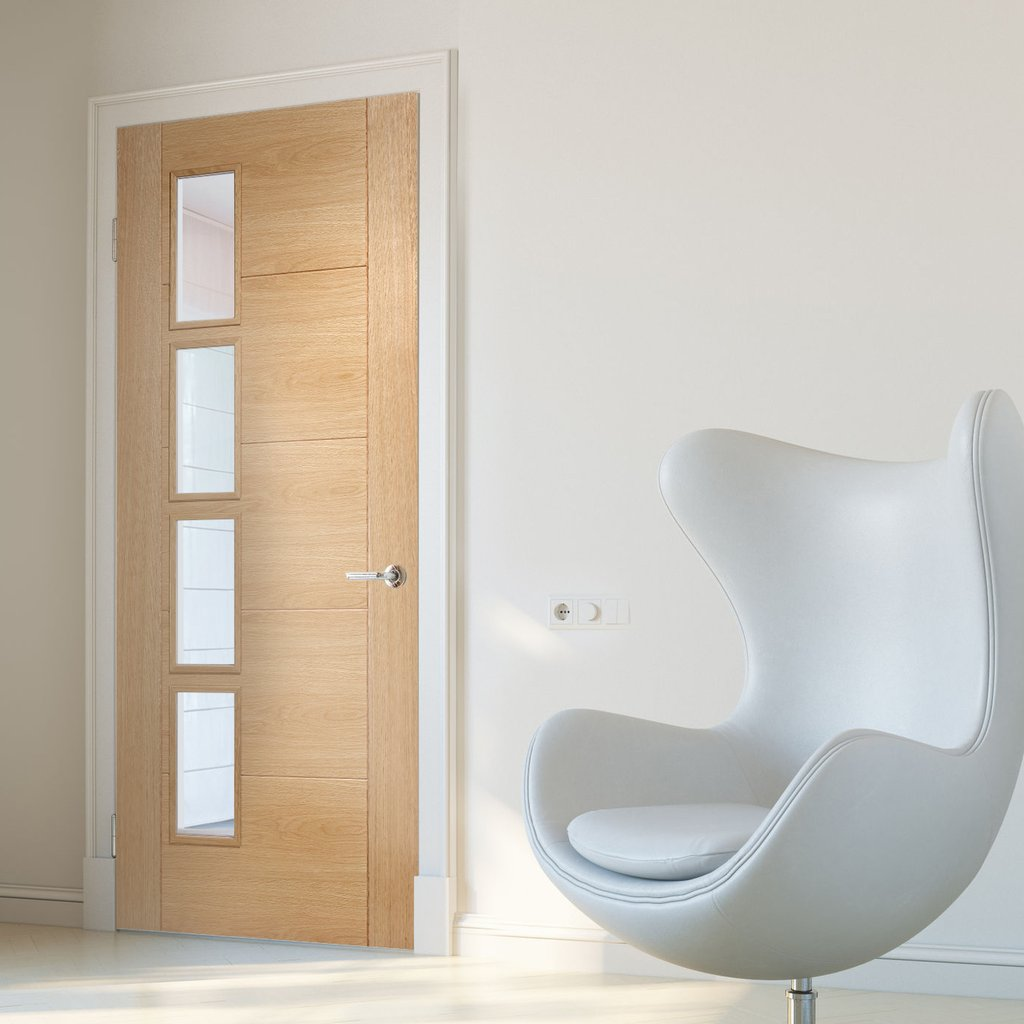 Bespoke Vancouver Oak 4L Door - Clear Glazed Offset - Prefinished