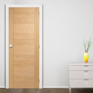 Image: LPD Joinery Bespoke Fire Door, Vancouver Oak 5P Flush - 1/2 Hour Fire Rated - Prefinished