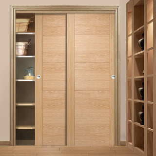Image: Bespoke Vancouver Oak 5P Flush Door - 2 Door Wardrobe and Frame Kit - Prefinished