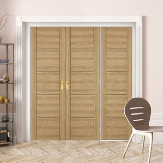Image: ThruEasi Room Divider - Laminate Vancouver Oak Colour Prefinished Double Doors with Single Side - 2018mm High - Multiple Widths