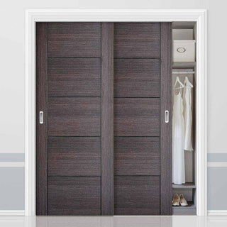 Image: Two Sliding Wardrobe Doors & Frame Kit - Vancouver Flush Ash Grey Door - Prefinished