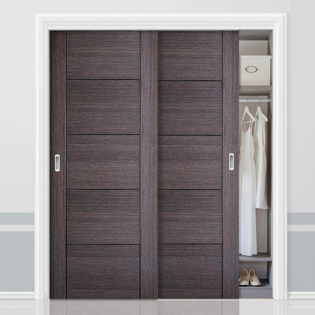 Bespoke Vancouver Ash Grey Door - 2 Door Wardrobe and Frame Kit - Prefinished