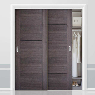 Image: Bespoke Vancouver Ash Grey Door - 2 Door Wardrobe and Frame Kit - Prefinished