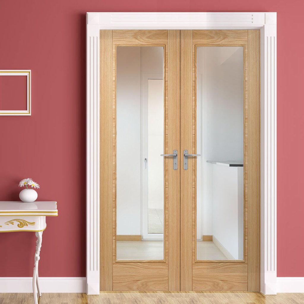 Bespoke Vancouver Oak 1L Fire Door Pair - 1/2 Hour Fire Rated - Clear Glass - Prefinished