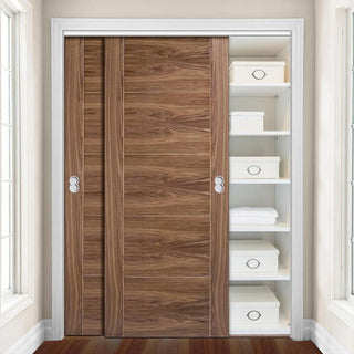 Image: Two Sliding Wardrobe Doors & Frame Kit - Vancouver 5 Panel Flush Walnut Door - Prefinished