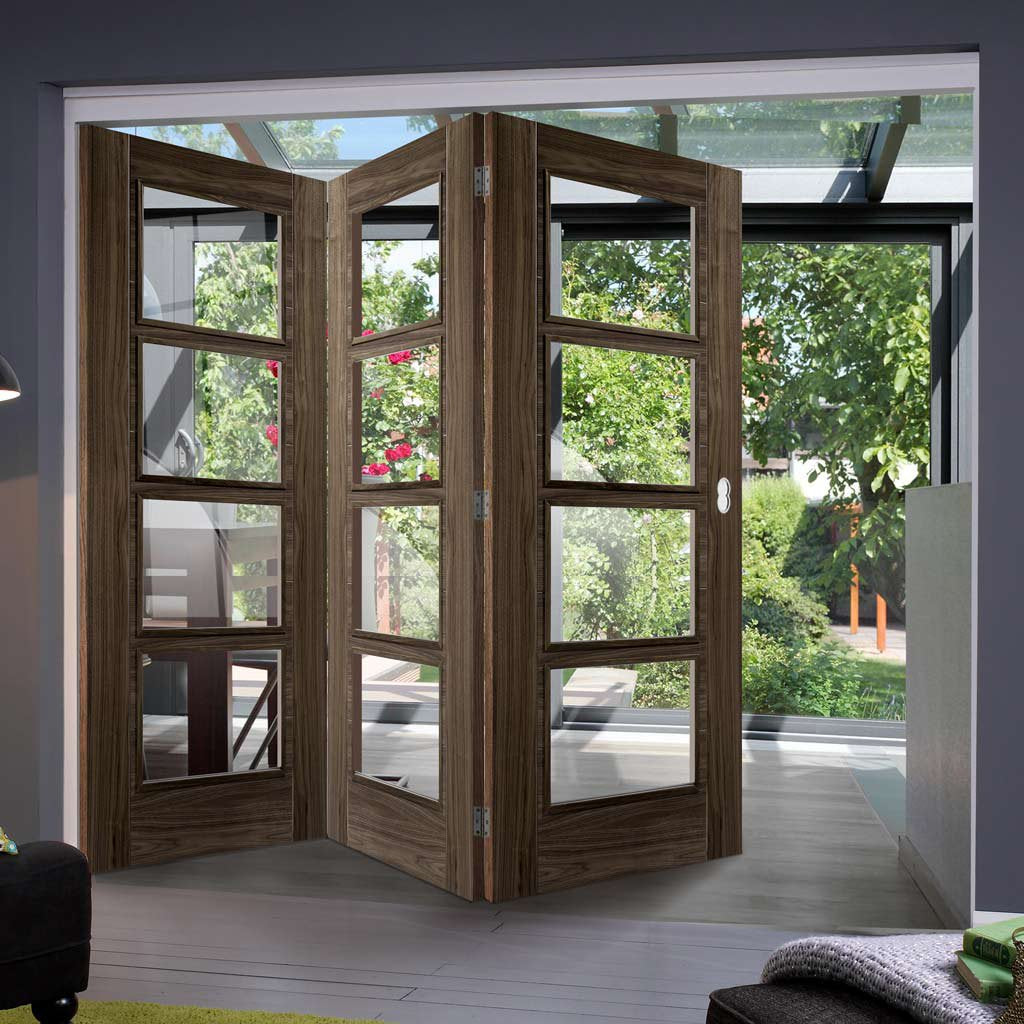 Three Folding Doors & Frame Kit - Vancouver 4 Pane Walnut 3+0 - Clear Glass - Prefinished