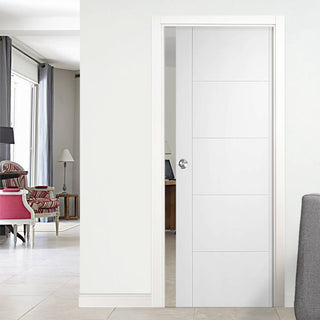 Image: Vancouver Flush Single Evokit Pocket Door - White Primed