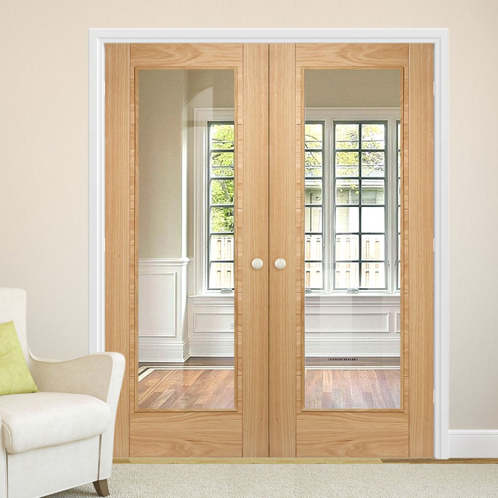 Bespoke Vancouver Oak 1L Door Pair - Clear Glass - Prefinished