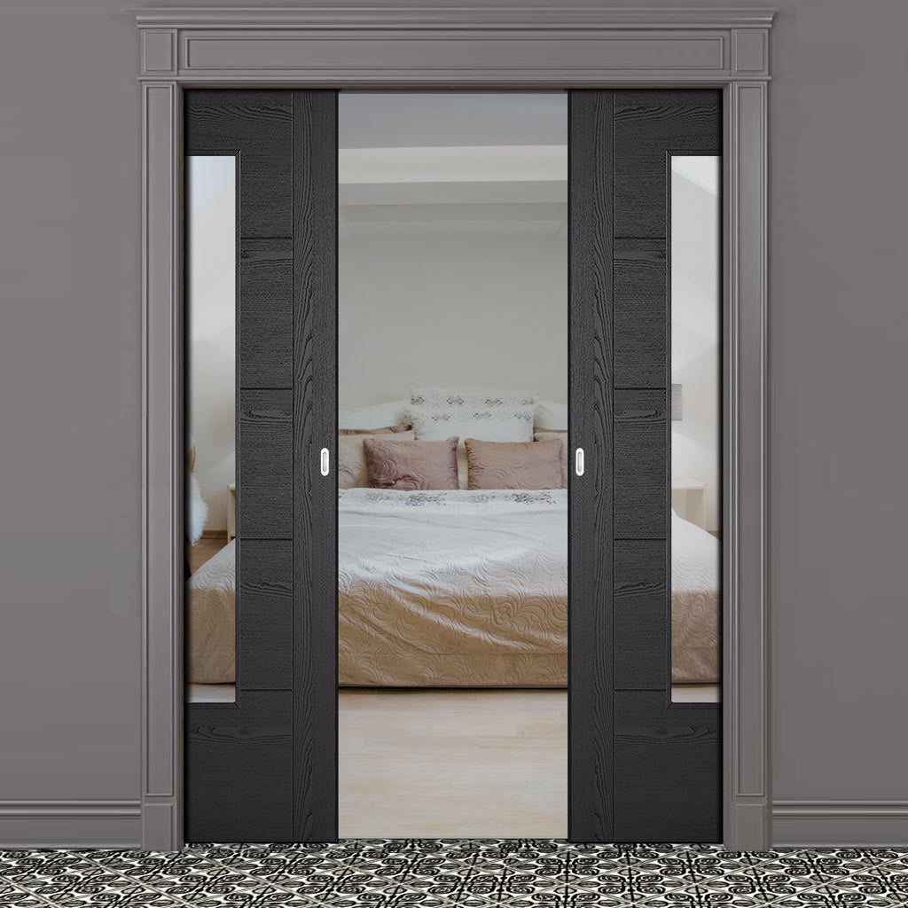 Laminate Vancouver Black Double Evokit Pocket Doors - Prefinished - Clear Glass - Prefinished