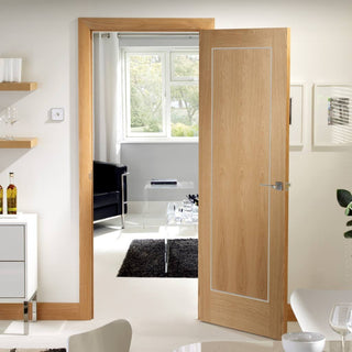 Image: Varese Oak Flush Door - Aluminium Inlay - Prefinished - From Xl Joinery