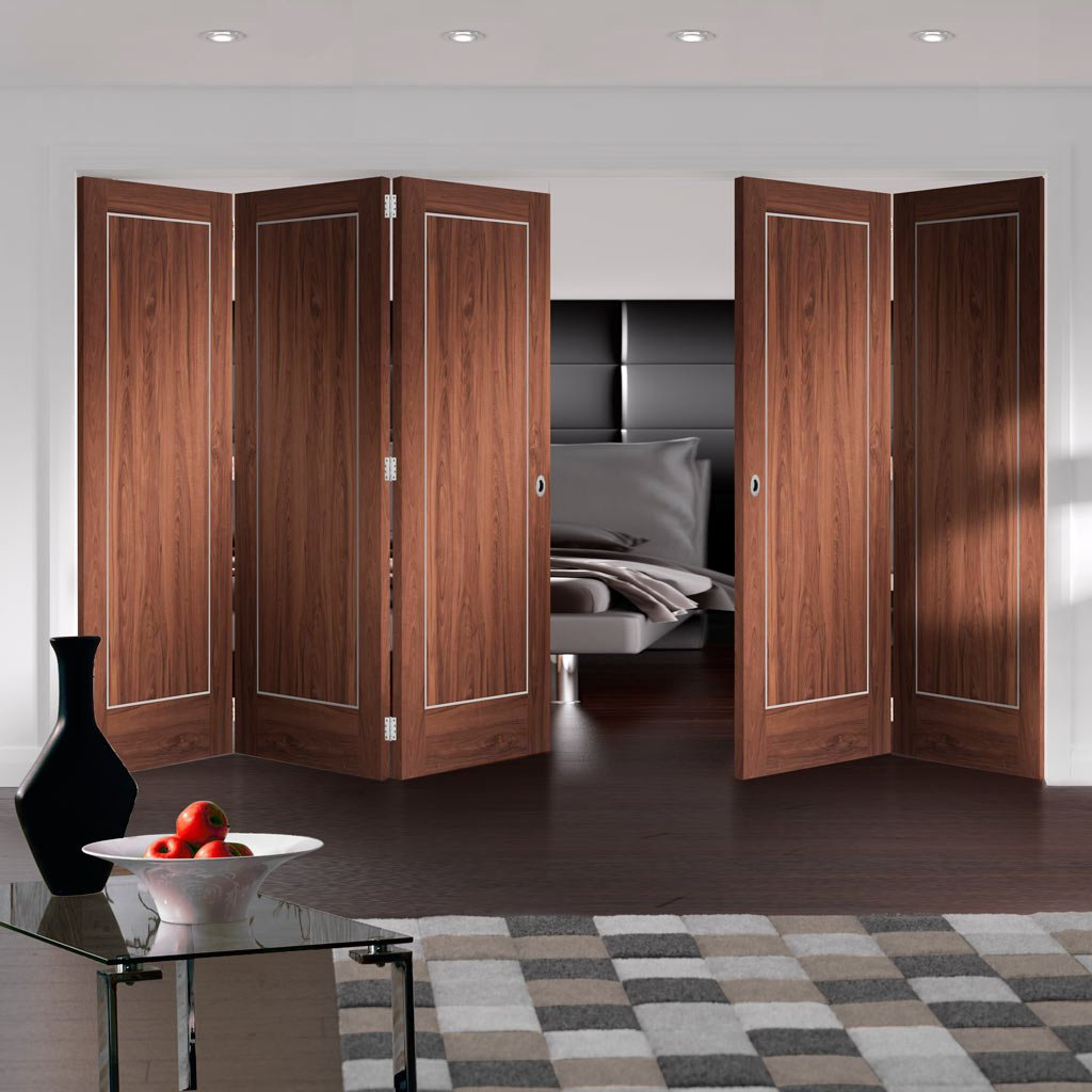 Bespoke Thrufold Varese Walnut Flush Folding 3+2 Door - Aluminium Inlay - Prefinished