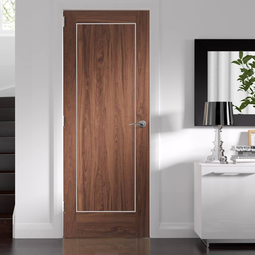 Bespoke Varese Walnut Flush Door - Aluminium Inlay - Prefinished