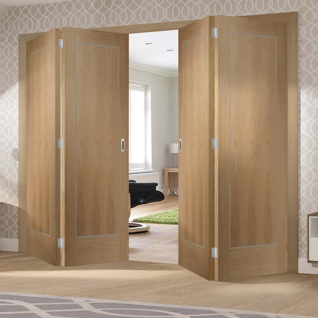 Bespoke Thrufold Varese Oak Flush Folding 2+2 Door - Aluminium Inlay - Prefinished
