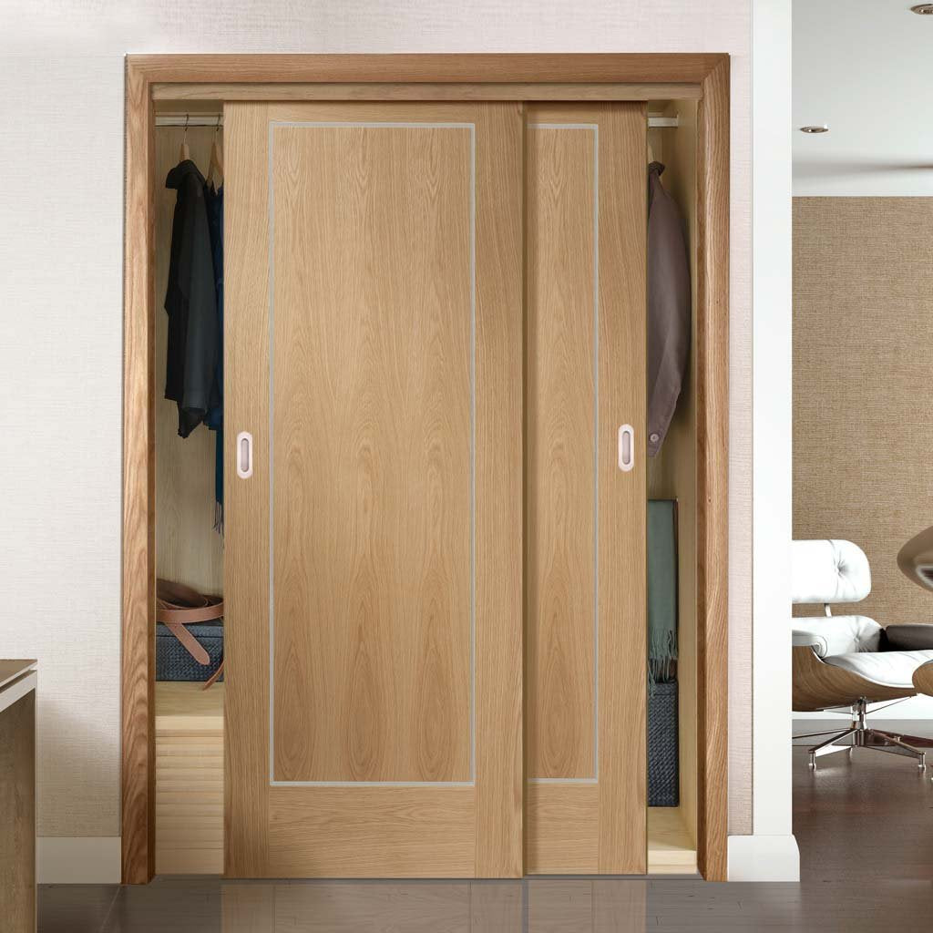 Thruslide Varese Oak Flush 2 Door Wardrobe and Frame Kit - Aluminium Inlay - Prefinished