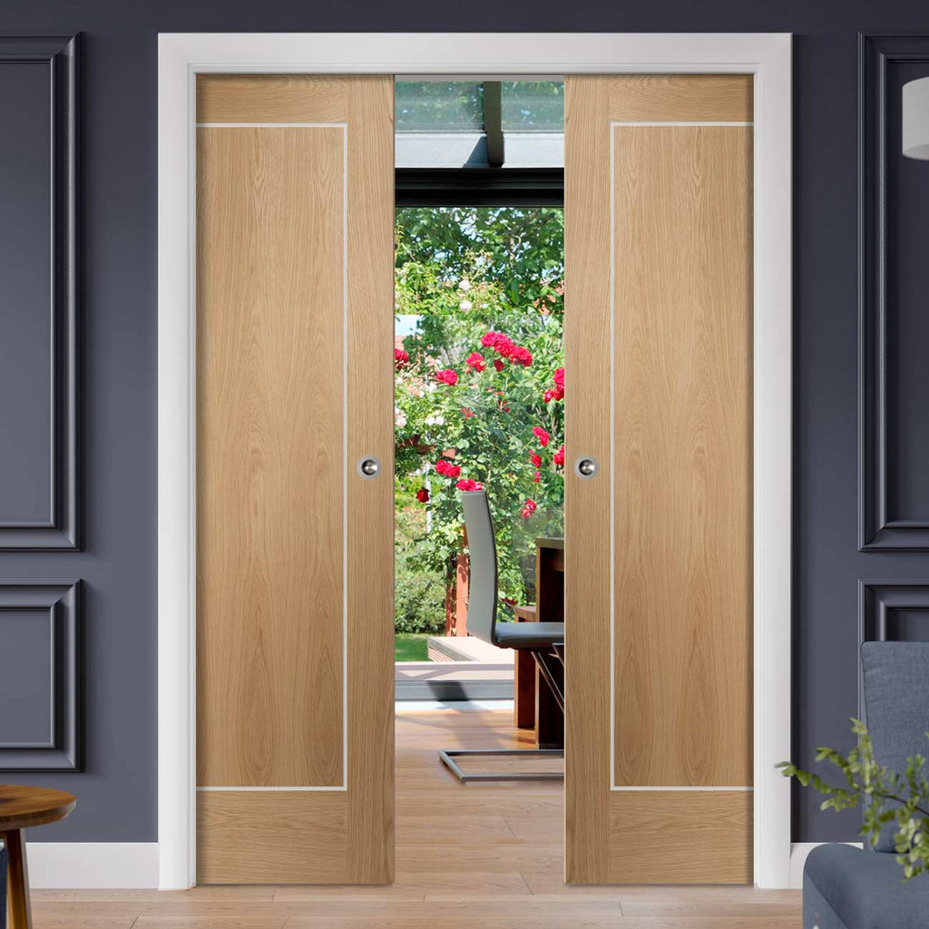 Varese Oak Flush Double Evokit Pocket Doors - Aluminium Inlay - Prefinished