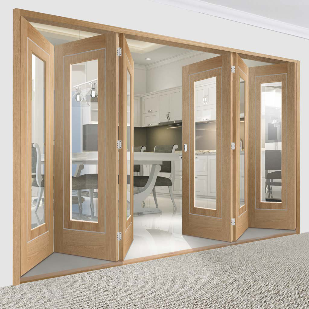 Bespoke Thrufold Varese Oak Glazed Folding 3+3 Door - Aluminium Inlay - Prefinished