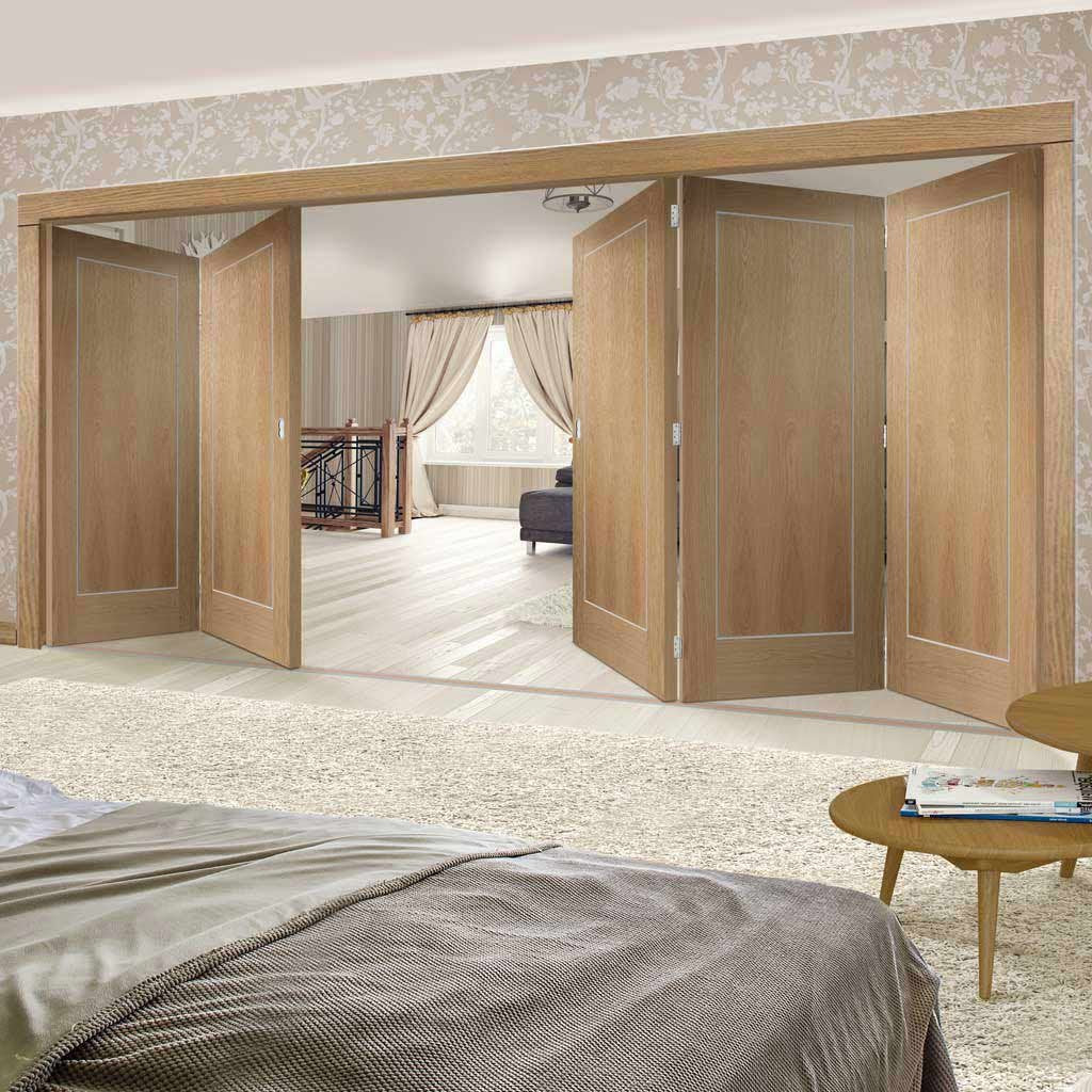 Five Folding Doors & Frame Kit - Varese Oak Flush 3+2 - Aluminium Inlay - Prefinished