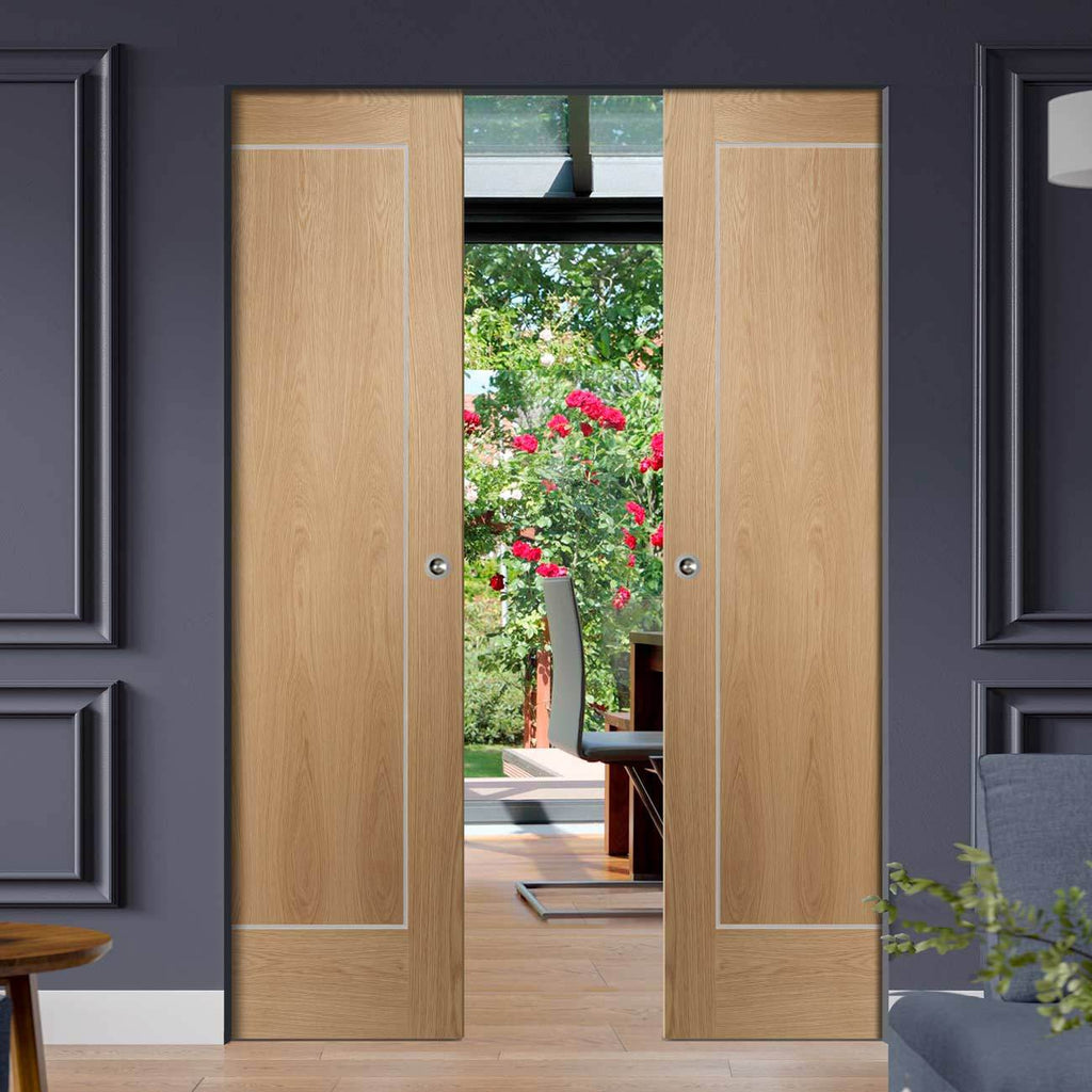 Bespoke Varese Oak Flush Double Frameless Pocket Door - Aluminium Inlay - Prefinished
