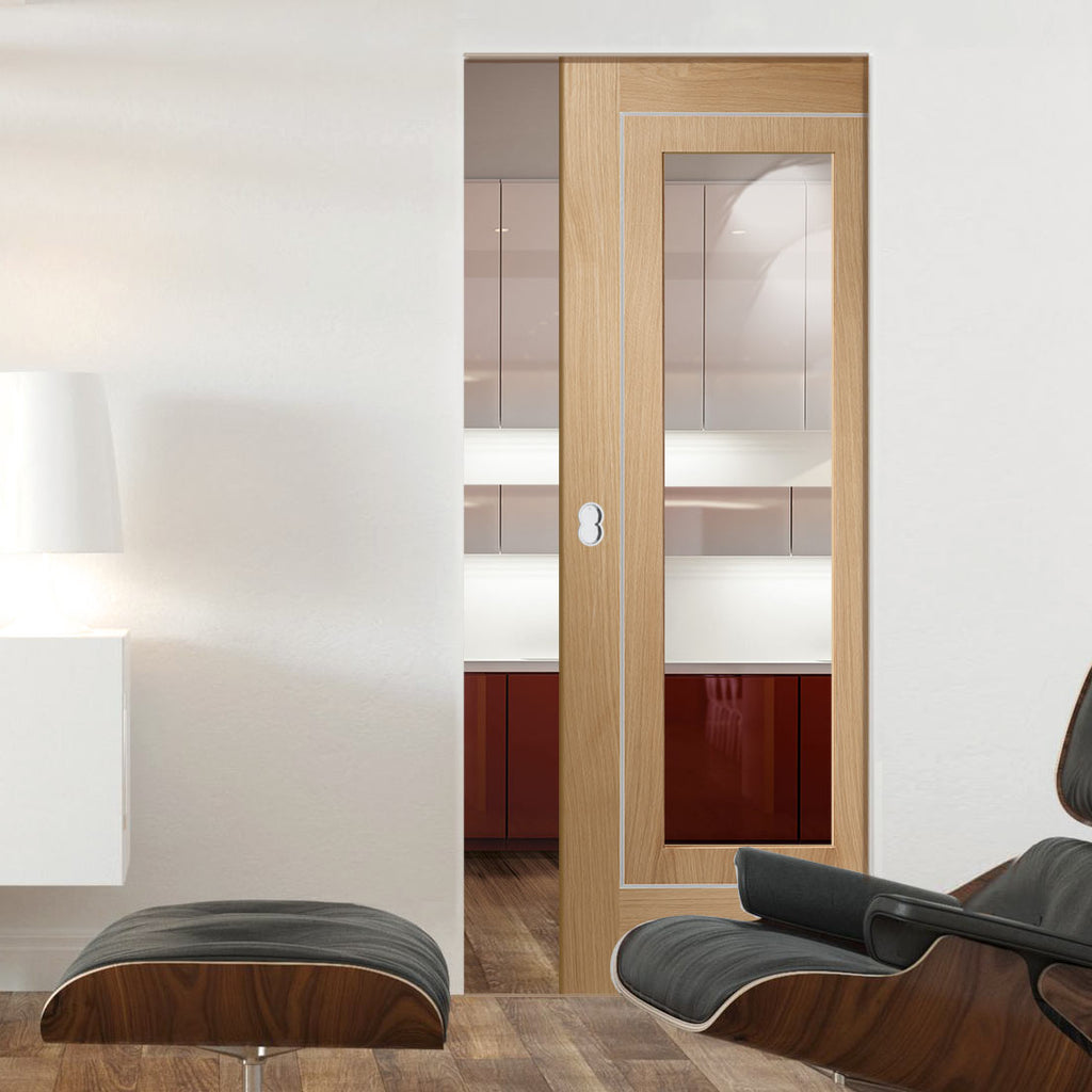 Bespoke Varese Oak Glazed Single Frameless Pocket Door - Aluminium Inlay - Prefinished