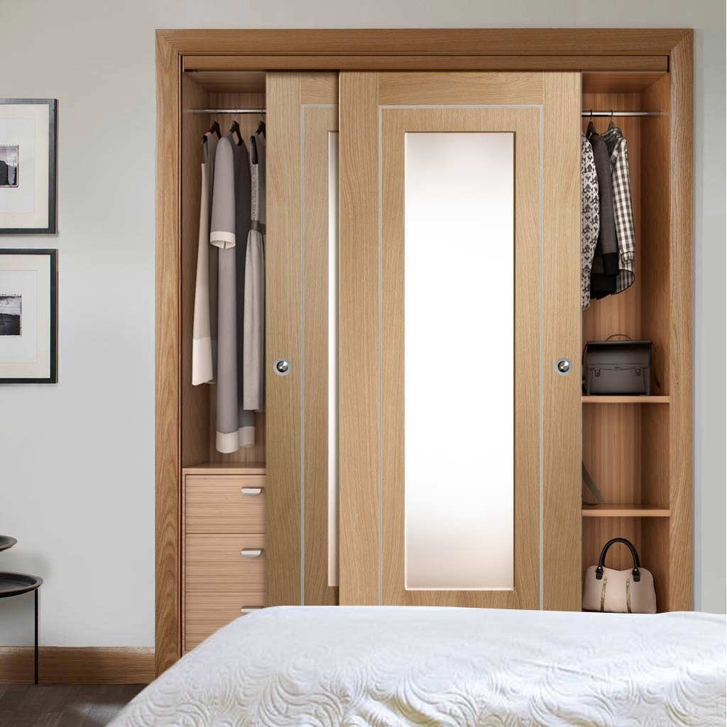 Bespoke Thruslide Varese Oak Glazed 2 Door Wardrobe and Frame Kit - Aluminium Inlay - Prefinished