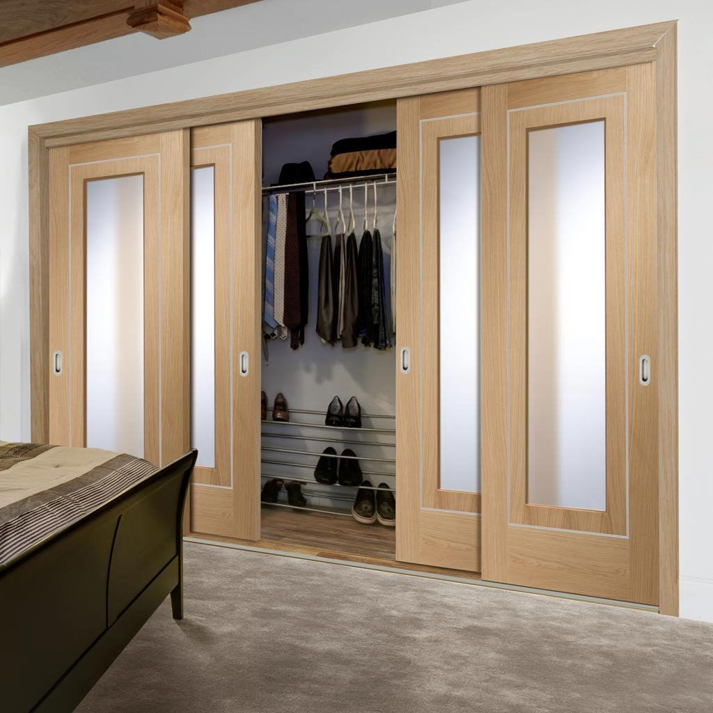Bespoke Thruslide Varese Oak Glazed 4 Door Wardrobe and Frame Kit - Aluminium Inlay - Prefinished