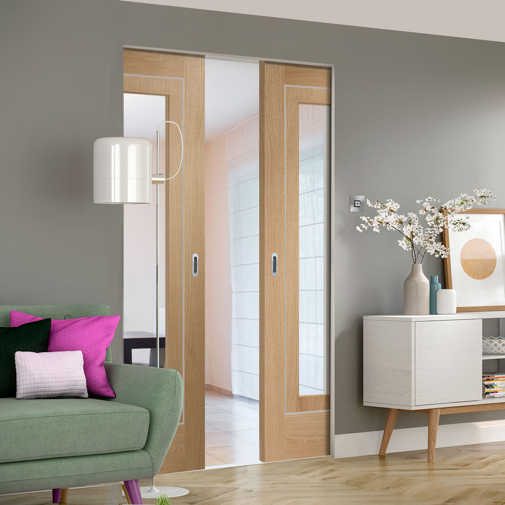 Bespoke Varese Oak Glazed Double Frameless Pocket Door - Aluminium Inlay - Prefinished
