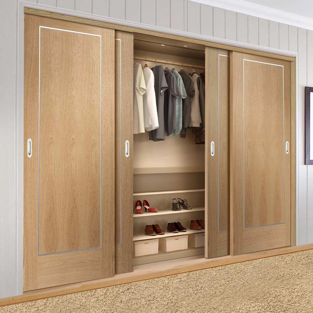 Bespoke Thruslide Varese Oak Flush 4 Door Wardrobe and Frame Kit - Aluminium Inlay - Prefinished