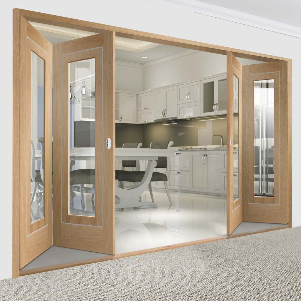 Bespoke Thrufold Varese Oak Glazed Folding 2+2 Door - Aluminium Inlay - Prefinished