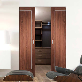Image: Bespoke Varese Walnut Flush Double Frameless Pocket Door - Aluminium Inlay - Prefinished