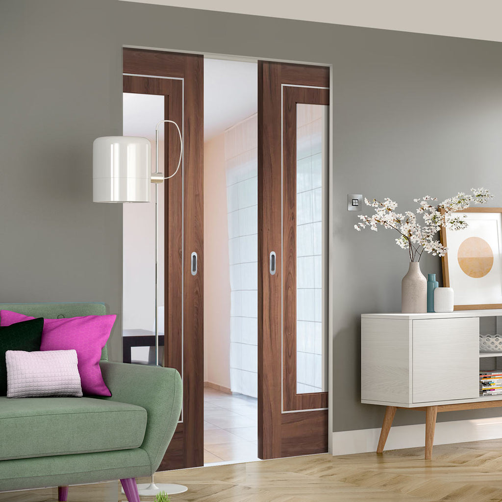 Bespoke Varese Walnut Galzed Double Frameless Pocket Door - Aluminium Inlay - Prefinished