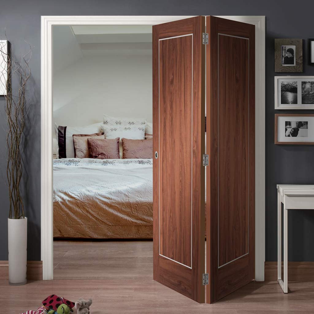 Bespoke Thrufold Varese Walnut Flush Folding 2+0 Door - Aluminium Inlay - Prefinished