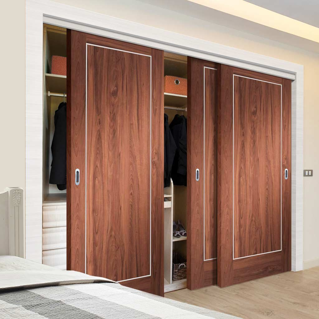 Minimalist Wardrobe Door & Frame Kit - Three Varese Walnut Flush Doors - Aluminium Inlay - Prefinished
