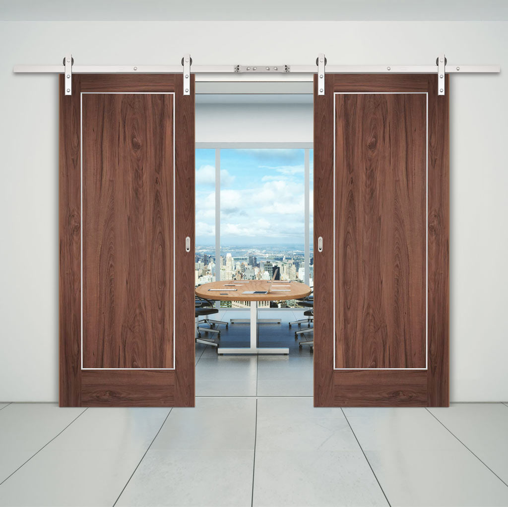 Double Sliding Door & Straight Stainless Steel Track - Varese Walnut Flush Door - Aluminium Inlay - Prefinished