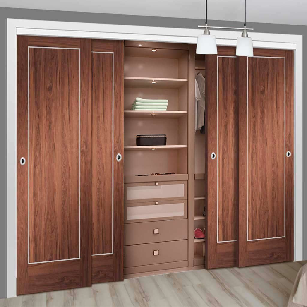 Bespoke Thruslide Varese Walnut Flush 4 Door Wardrobe and Frame Kit - Aluminium Inlay - Prefinished