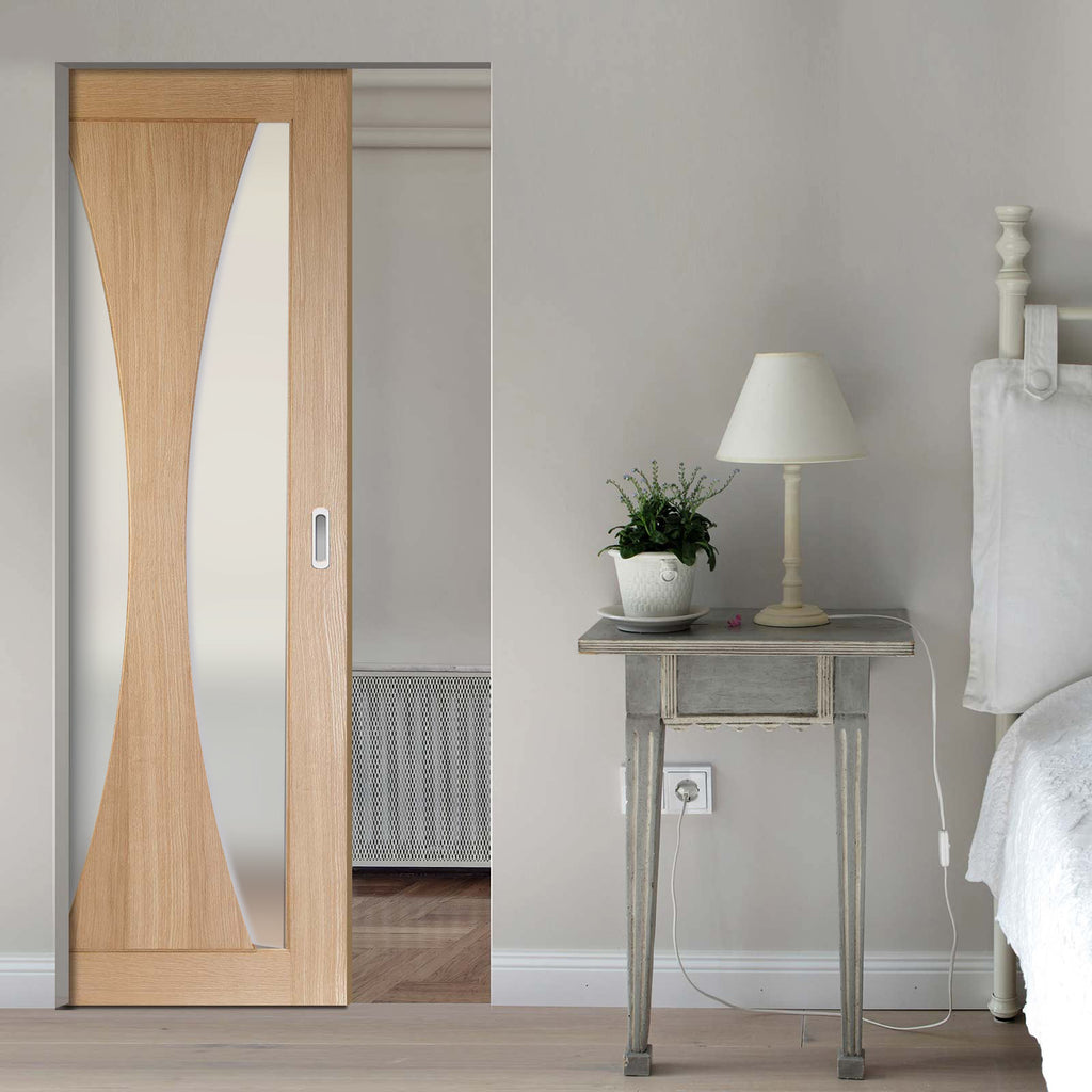 Verona Oak Absolute Evokit Pocket Door - Frosted Glass