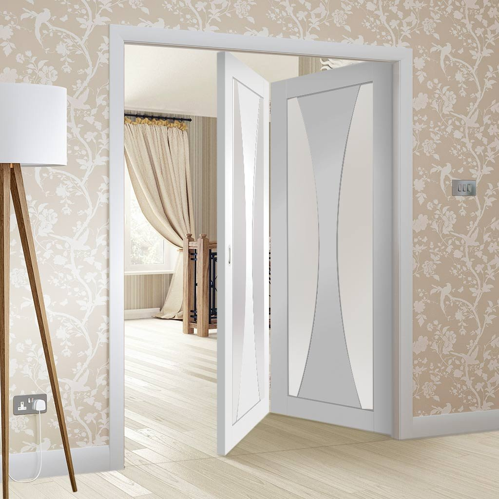Bespoke Thrufold Verona White Primed Glazed Folding 2+0 Door
