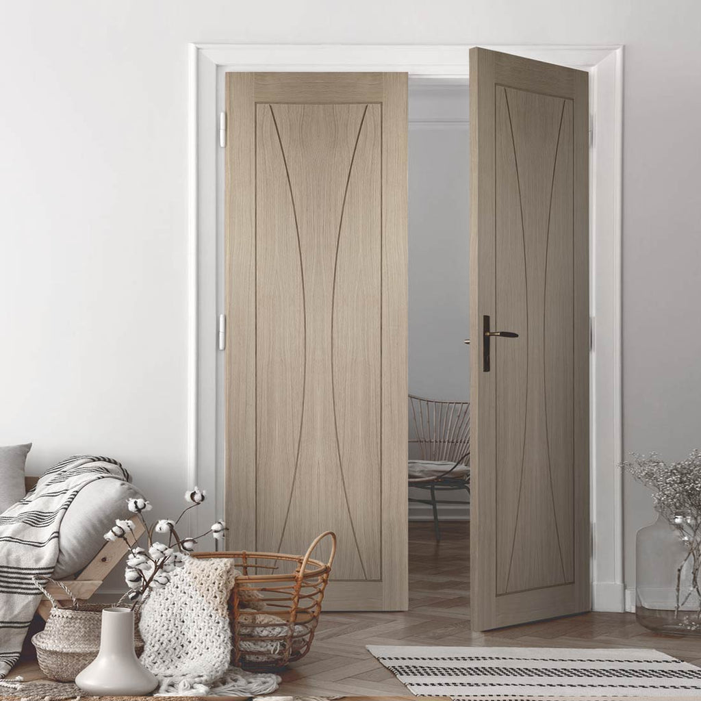 Prefinished Bespoke Verona Oak Flush Door Pair - Choose Your Colour