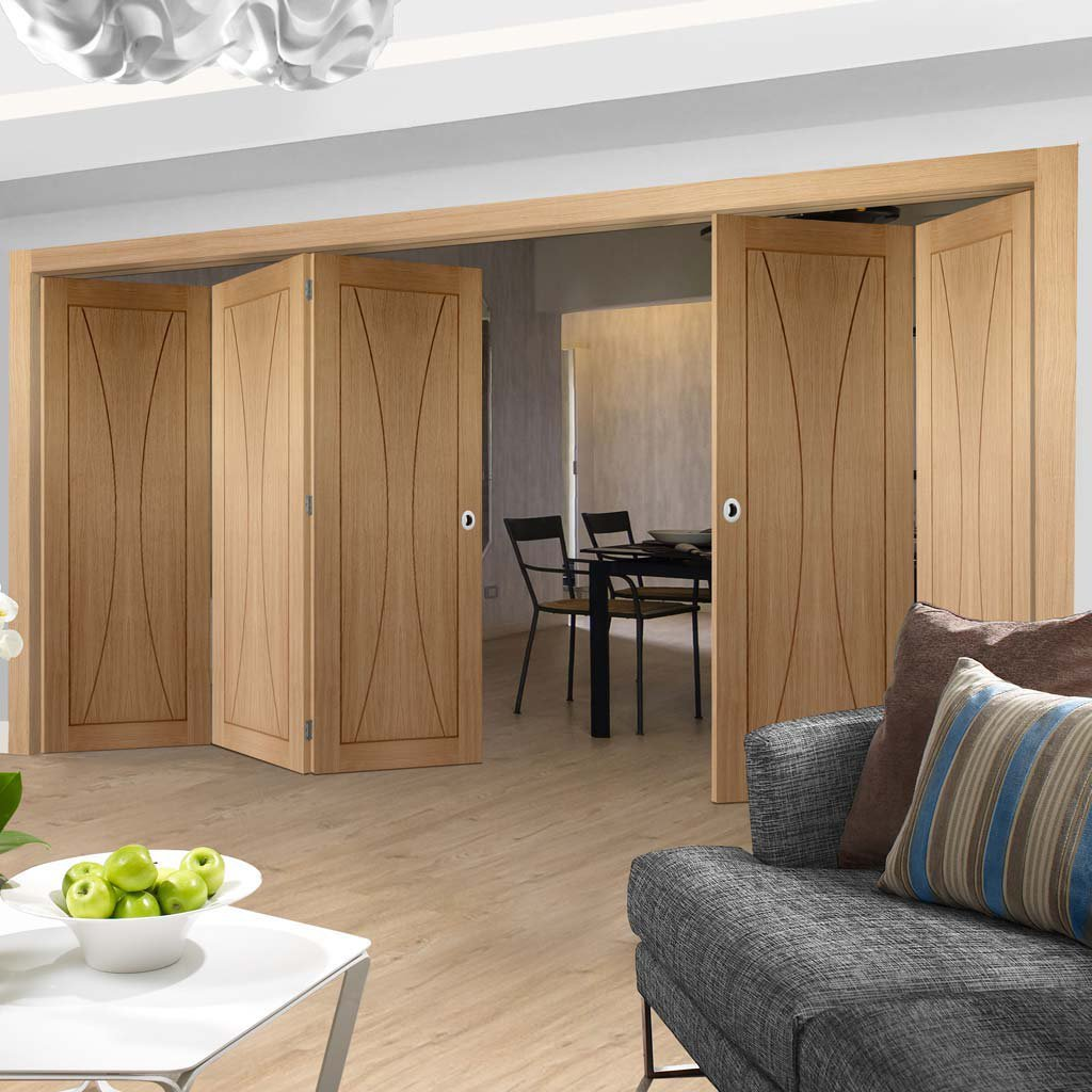 Bespoke Thrufold Verona Oak Flush Folding 3+2 Door