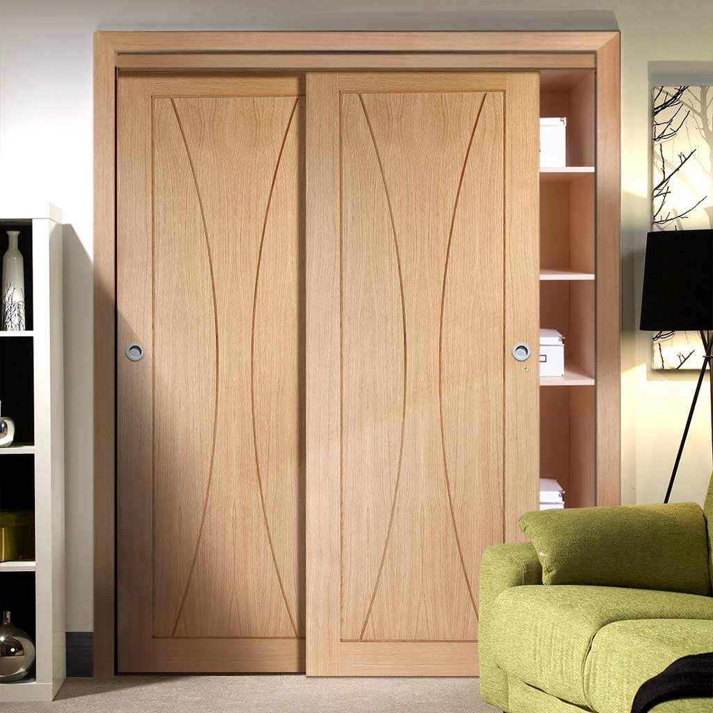 Bespoke Thruslide Verona Oak Flush 2 Door Wardrobe and Frame Kit